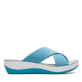 Clarks Womens Arla Elin Aqua Synthetic Sandals